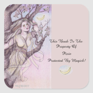 Apple Blossom Dryad Fairy Faerie Bookplate Square Sticker