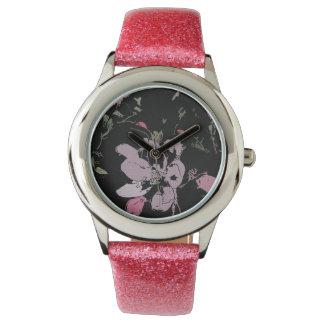 Apple Blossom Glitter Watch, Pink Glitter Strap Watch