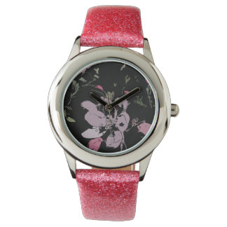 Apple Blossom Glitter Watch, Pink Glitter Strap Watches