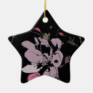 Apple Blossom in Ink Ceramic Star Decoration