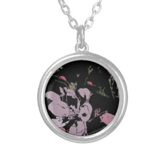 Apple Blossom in Ink Round Pendant Necklace