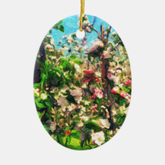Apple Blossom Oil Painting Ceramic Oval Decoration