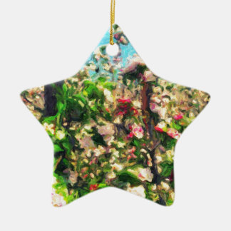 Apple Blossom Oil Painting Ceramic Star Decoration