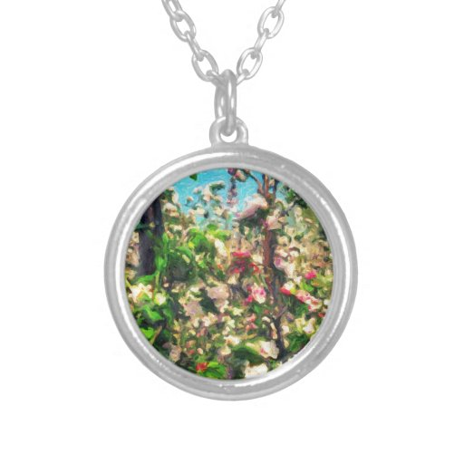 Apple Blossom Oil Painting Personalised Necklace