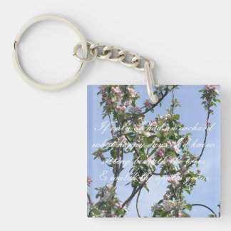 Apple blossom poem Double-Sided square acrylic key ring