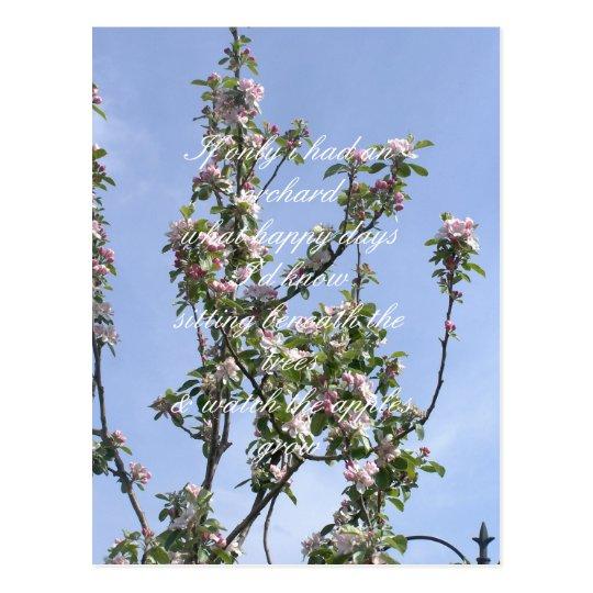Apple blossom poem postcard