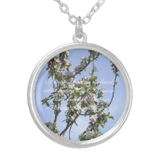 Apple blossom poem silver plated necklace