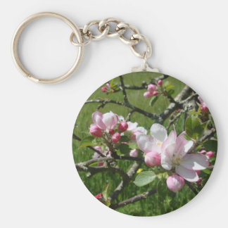 Apple Blossoms Basic Round Button Key Ring