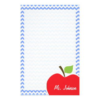 Apple; Blue Chevron Stationery