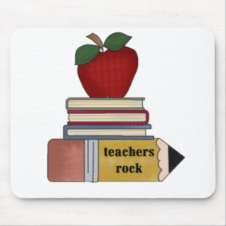 Apple, Books, Pencil Teachers Rock Mouse Mat