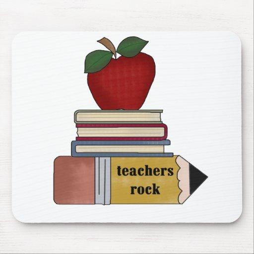 Apple, Books, Pencil Teachers Rock Mouse Mats