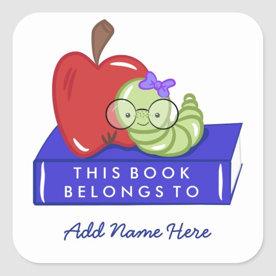Apple & Bookworm This Book Belongs To Square Sticker