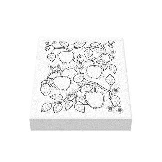 Apple Branch Line Art Design Canvas Print