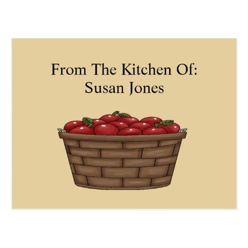 Apple Bushel Basket Recipe  Card Postcard