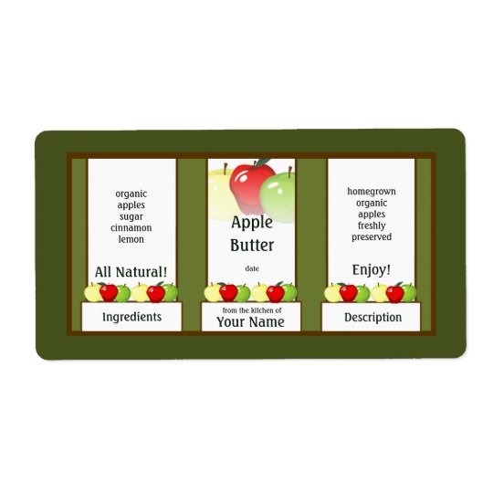 Apple Butter Canning Jar Label Shipping Label