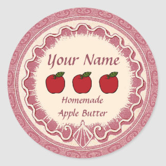 Apple Butter Personalize Pink Classic Round Sticker