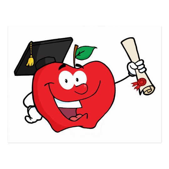 Apple Character  Graduate Holding A Diploma Postcard