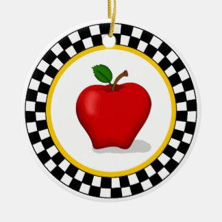 Apple & Checkerboard Border Ornament