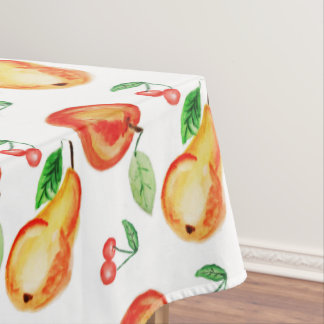 Apple, cheries and pears watercolor design, bright tablecloth