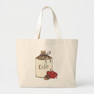 apple cider and apple picking large tote bag
