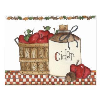 apple cider and apple picking postcard