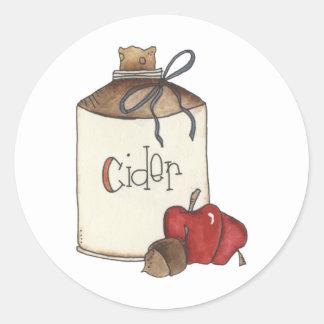 apple cider and apple picking round sticker