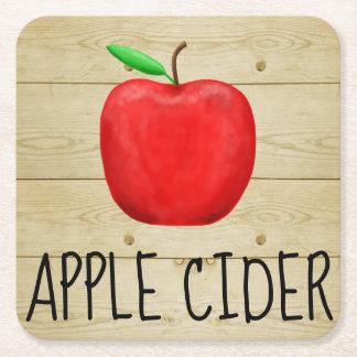 Apple Cider Red Apple Square Paper Coaster