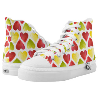Apple colorful hearts pattern high tops
