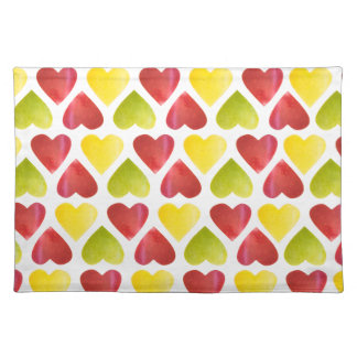 Apple colorful hearts pattern placemat