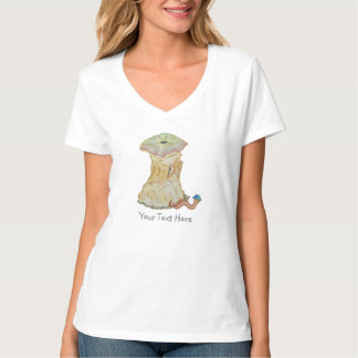 Apple core with funny maggot  in hat illustration T-Shirt