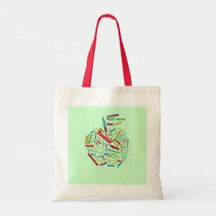 Gift for Teacher Tote Bag Teacher Apple Word Cloud Tote Bag