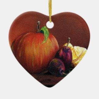 Apple, Damson and Lemon Ceramic Heart Decoration