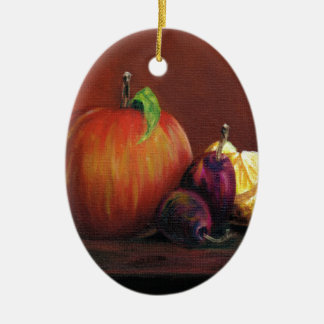 Apple, Damson and Lemon Ceramic Oval Decoration