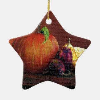 Apple, Damson and Lemon Ceramic Star Decoration