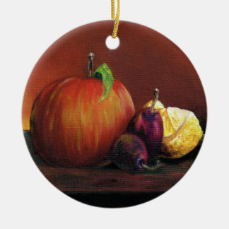 Apple, Damson and Lemon Round Ceramic Decoration