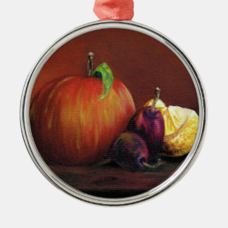 Apple, Damson and Lemon Silver-Colored Round Decoration