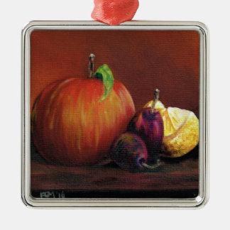 Apple, Damson and Lemon Silver-Colored Square Decoration