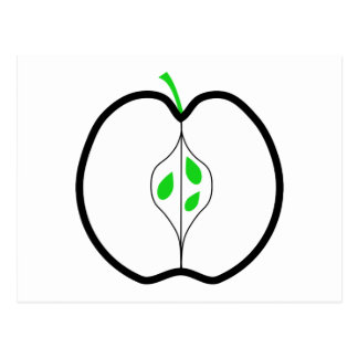 Apple Design in Green, Black and White. Post Card