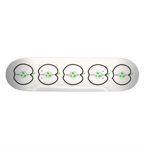 Apple Design in Green, Black and White. Skateboard