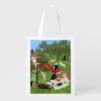 Apple Farm Labradors Painting Reusable Grocery Bag