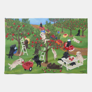 Apple Farm Labradors Painting Tea Towel
