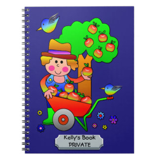 Apple Farmer Gathering His Apple Harvest Notebook