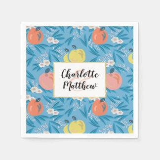 Apple Floral Sky Blue Pink Wedding Paper Napkins Disposable Serviette