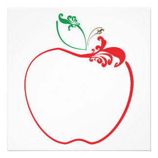 apple flourish personalized invitations