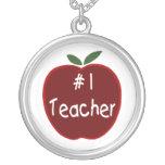 Apple For # 1 Teacher Necklace