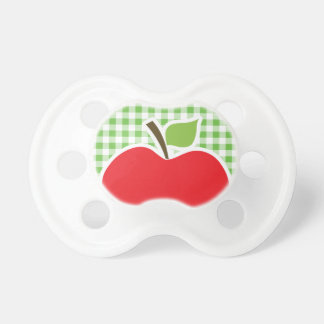 Apple for Teacher; Green Checkered; Gingham Baby Pacifiers