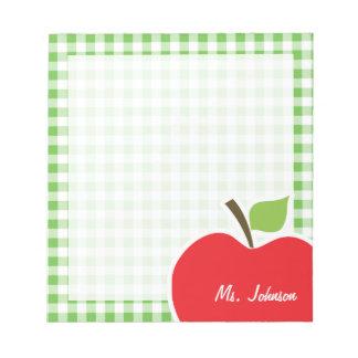 Apple for Teacher; Green Checkered; Gingham Notepad