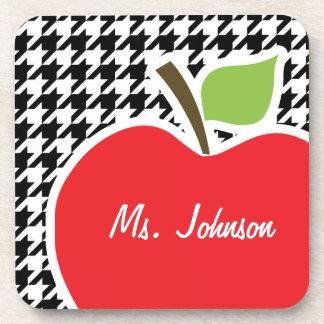 Apple for Teacher on Black White Houndstooth Coasters