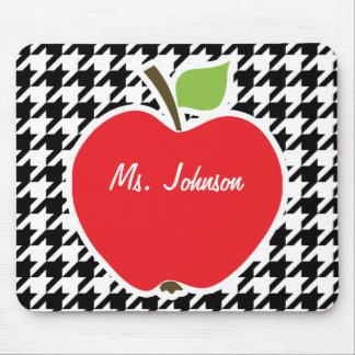 Apple for Teacher on Black White Houndstooth Mousepads