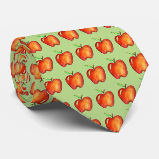 Apple for the Teacher Green Red Apples Gift Tie
